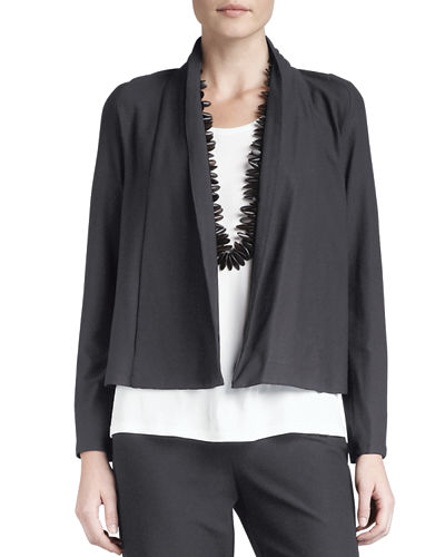 Eileen Fisher Washable Stretch-Crepe Short Jacket, Jersey Tank