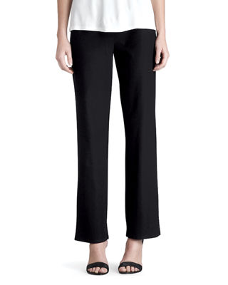 Washable-Crepe Straight-Leg Pants, Petite