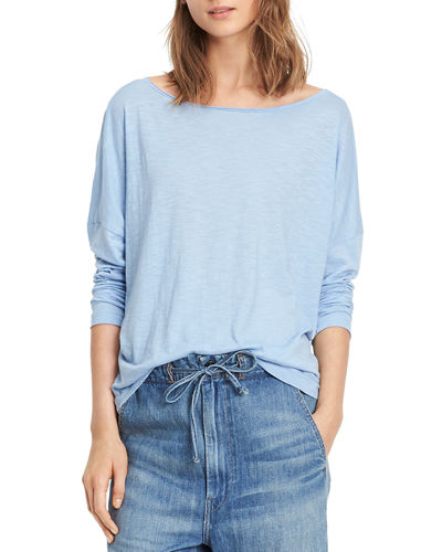 Vince Drop Shoulder Long-Sleeve Boat-Neck Tee