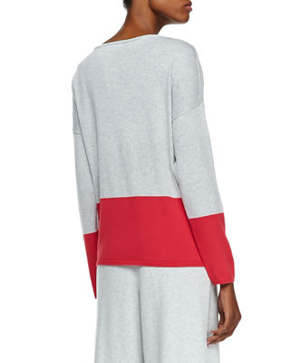 Joan Vass Long-Sleeve Colorblocked Cotton Top and Matching