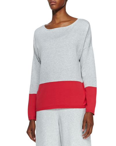 Joan Vass Long-Sleeve Colorblocked Cotton Top, Petite and