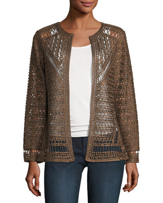BEREK CROCHET TOPPER JACKET, PLUS SIZE