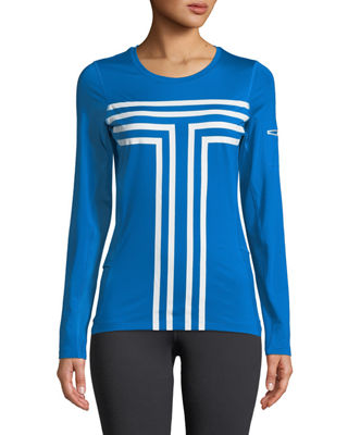 TORY SPORT Printed Stretch-Jersey And Mesh Top in Blue