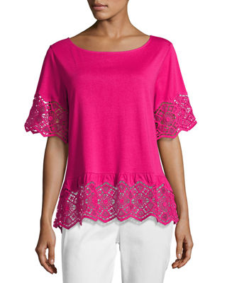 Image 1 of 3: Short-Sleeve Slub Tee w/ Lace, Petite