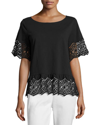 Joan Vass Short-Sleeve Slub Tee w/ Lace