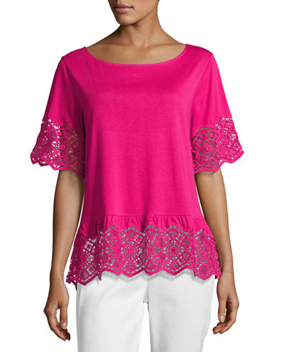 Joan Vass Short-Sleeve Slub Tee w/ Lace, Plus