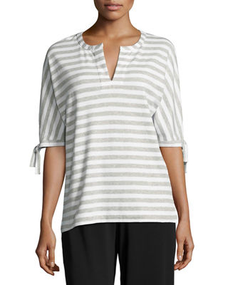 Joan Vass Striped Tie-Cuff Tunic and Matching Items