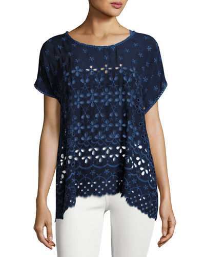 Johnny Was Biggie Short-Sleeve Eyelet Tee, Petite