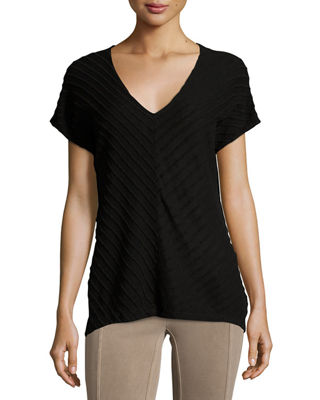 XCVI Meli Zita Knit V-Neck Top, Plus Size in Black