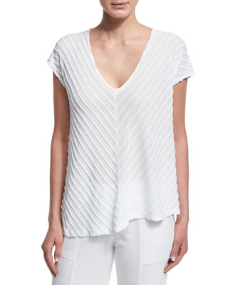 XCVI Meli Zita Knit V-Neck Top, Plus Size in White