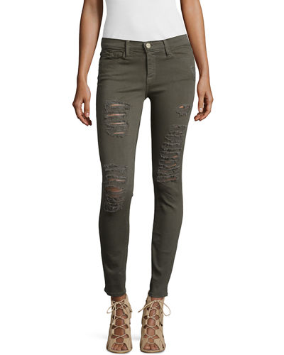 Le Color Rip Skinny Distressed Jeans