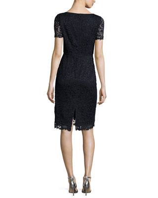 Marquis Short-Sleeve Lace Dress