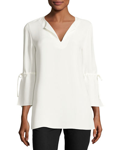 Sela Drawstring-Sleeve Silk Blouse