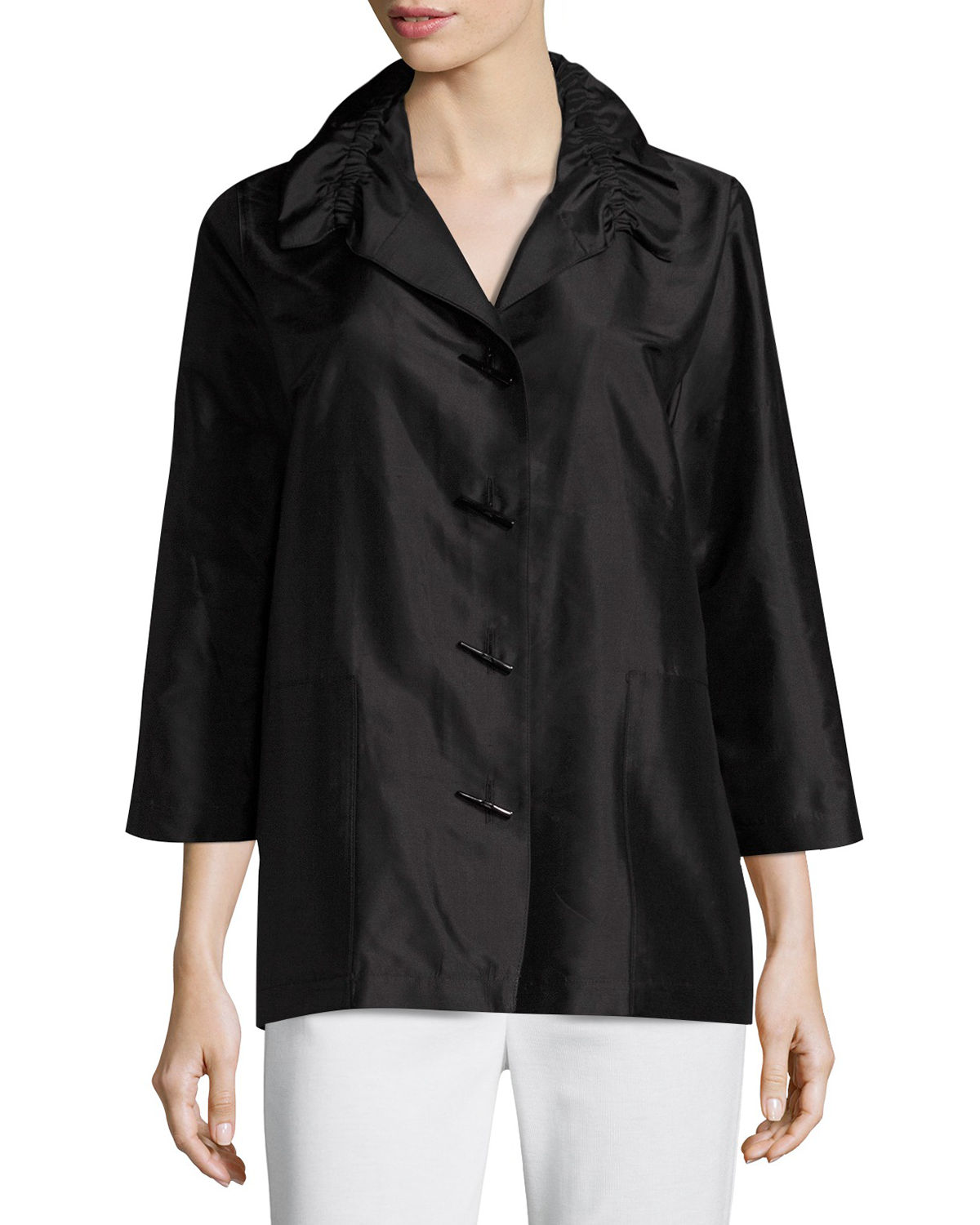 Caroline Rose Plus Size Shantung Silk Shirt Jacket