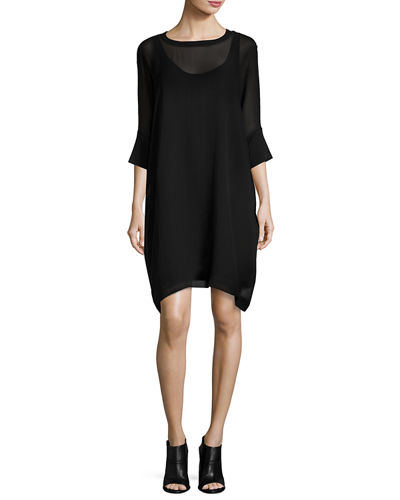 Eileen Fisher Silk Georgette Round-Neck Shift Dress, Plus