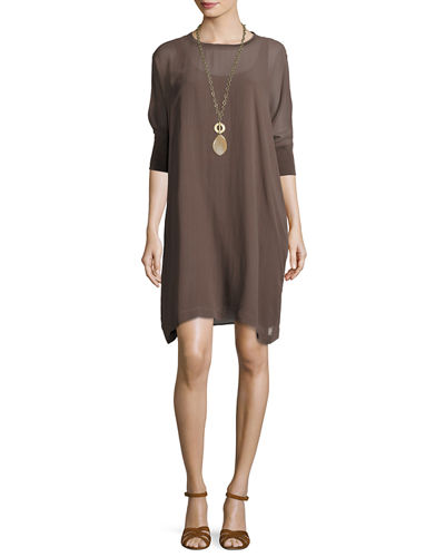 Silk Georgette Round-Neck Shift Dress, Plus Size