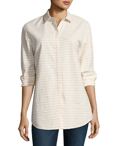 Lafayette 148 New York Sabira Long-Sleeve Striped Blouse,