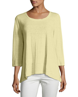Eileen Fisher 3/4-Sleeve Scoop-Neck Organic Linen Tee, Plus
