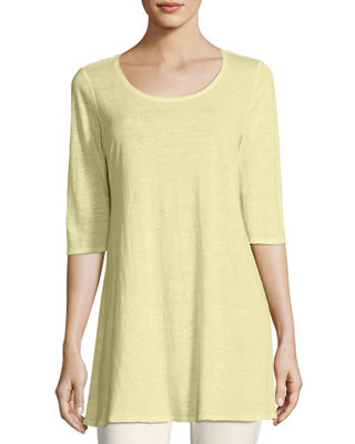 Eileen Fisher Half-Sleeve Linen Jersey Layering Tunic, Plus