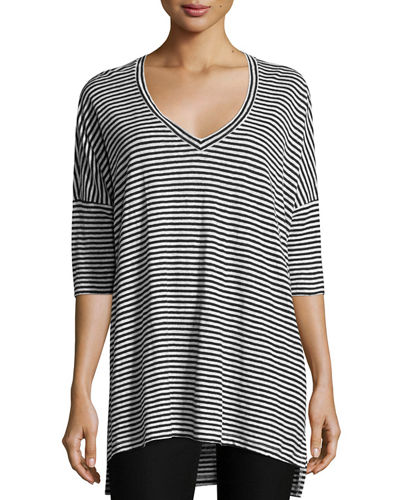 Plus Size Striped Organic Linen Jersey V-Neck Tunic