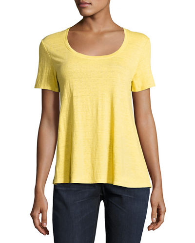 Eileen Fisher Short-Sleeve Organic Linen Lucky Tee