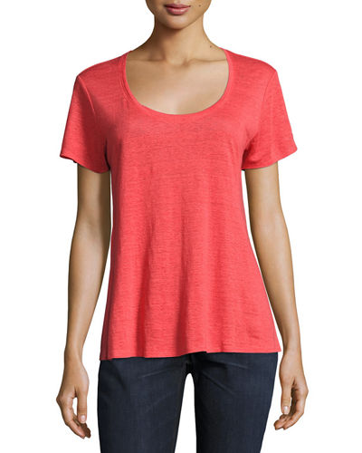 Eileen Fisher Short-Sleeve Organic Linen Lucky Tee and