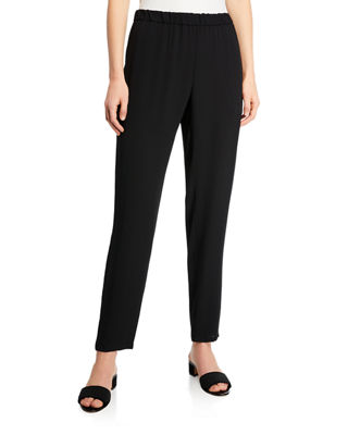 Eileen Fisher Silk Georgette Crepe Slouchy Ankle Pants,