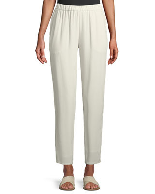 Image 1 of 2: Silk Georgette Crepe Slouchy Ankle Pants, Plus Size