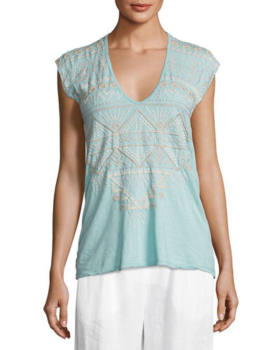 Johnny Was Colette Embroidered V-Neck Tee and Matching