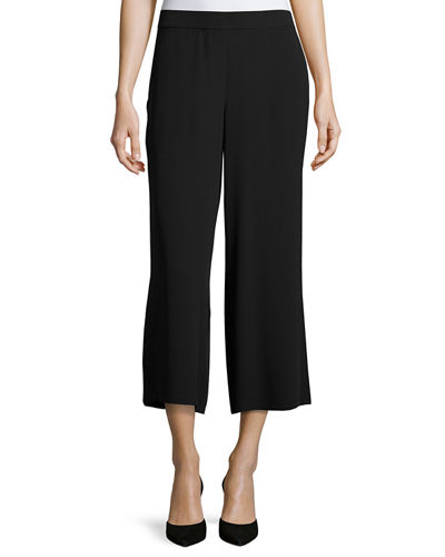 Eileen Fisher Silk Crepe Wide-Leg Ankle Pants and