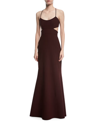 Sleeveless Cutout Crepe Gown