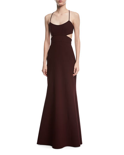 Jill Jill Stuart Sleeveless Cutout Crepe Gown, Black