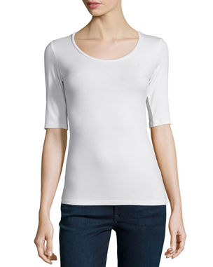 a32f95882 Majestic Paris for Neiman Marcus Soft Touch Half-Sleeve Scoop-Neck Top