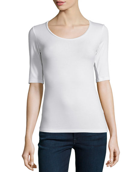 Majestic Filatures Soft Touch Half-Sleeve Scoop-Neck Top