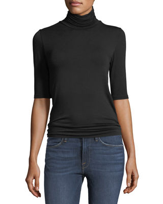 Image 1 of 5: Soft Touch Half-Sleeve Turtleneck