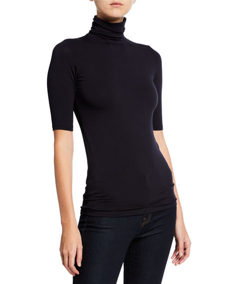 Majestic Filatures Soft Touch Half-Sleeve Turtleneck
