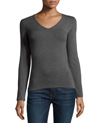 MAJESTIC Cotton/Cashmere Long-Sleeve V-Neck Pullover Top in Grey