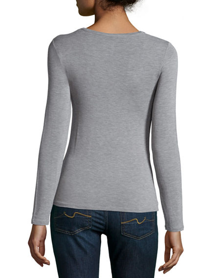 Image 2 of 3: Majestic Filatures Soft Touch Long-Sleeve V-Neck Tee