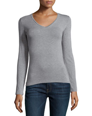 f47cfef82 Majestic Paris for Neiman Marcus Soft Touch Long-Sleeve V-Neck Tee