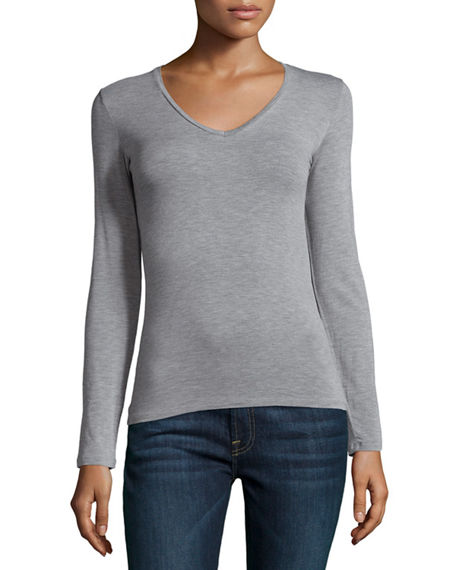 Image 1 of 3: Majestic Filatures Soft Touch Long-Sleeve V-Neck Tee
