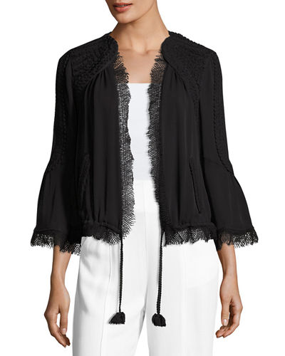 Nadine Embellished Open-Front Silk Jacket