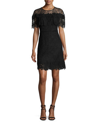 Vivi Short-Sleeve Popover Lace Cocktail Dress