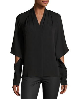 Edyn Cascading Long-Sleeve Silk Blouse