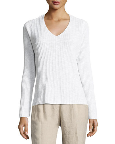 Eileen Fisher Long-Sleeve V-Neck Ribbed Tunic