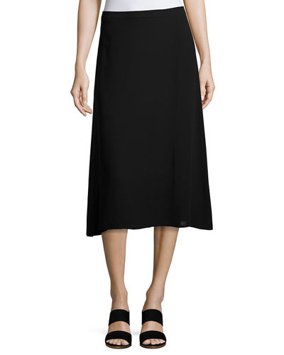 Eileen Fisher Silk Georgette Crepe Faux-Wrap Skirt