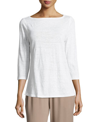 Eileen Fisher 3/4-Sleeve Organic Linen Jersey Top