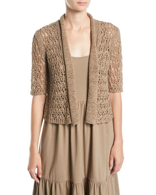 Joan Vass Cropped Tape-Yarn Cardigan