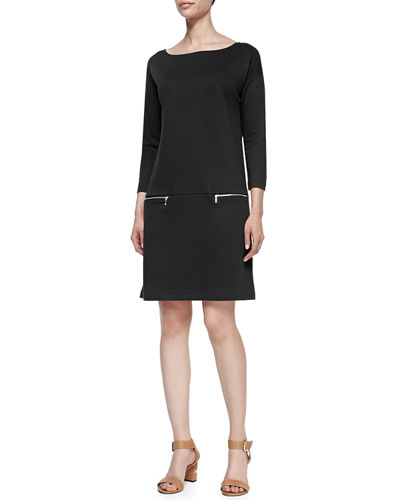 Knit Zip-Pocket Shift Dress