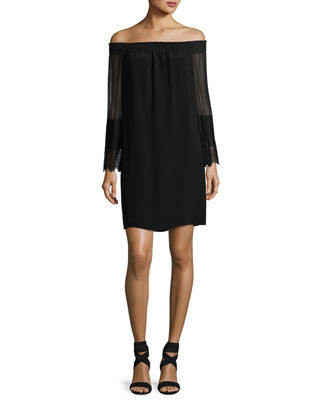 Kobi Halperin Eva Off-the-Shoulder Silk Mini Cocktail Dress