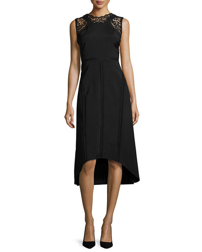 Kobi Halperin Melody Sleeveless Lace-Trim Paneled Midi Dress